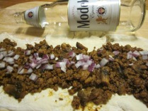 Chili roll and Modelo. Perfect end to the day.